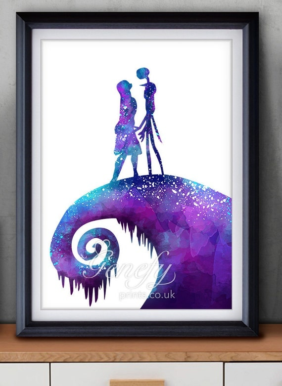 The Nightmare Before Christmas Jack And Sally Watercolor