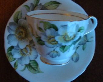 Aynsley - Apple Blossoms - Bone China England - Vintage Spiral Tea Cup and Saucer