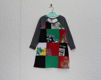 Recycled T Shirt Dress,Girl's Size 5 Tshirt Dress, Upcycled T Shirt Dress, Long Sleeve T Shirt Dress, Girl's Dress, Patchwork Child's Dress