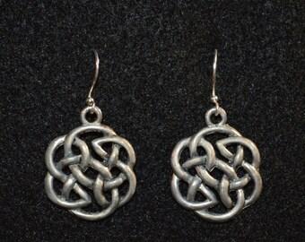 Celtic Design silver fish hook earrings OOAK
