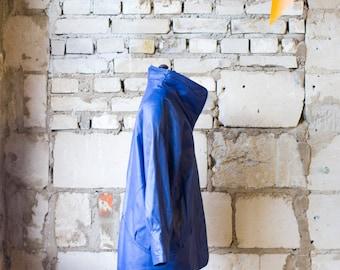 80s Sea Blue Leather Jacket Finland Pop Fashion