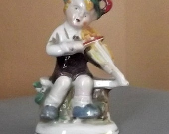 Vintage FIGURINE....1940s...Occupied Japan....Little Boy Playing VIOLIN....NEW Listing