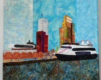 Art quilt Wilhelminapier, Rotterdam, The Netherlands