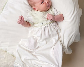 Boys Newborn Gown, Ethan Layette Gown, Ivory and Green