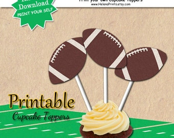 Football Cupcake Toppers, NFL, Birthday, Party, Football Birthday, Superbowl Party, Appetizer Picks, Printable Football Cupcake Toppers