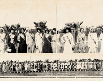 "1930 ""Pageant of Pulchritude"" Bathing Beauties Galveston TX Panoramic Photograph Panorama Old Photo 7"" x 33"" Long"