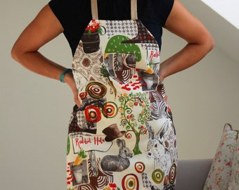 Full Apron With Rabbits, Retro Womens Apron, Unique Cooking Gift, Cooking Apron, Apron For Her, Womens Apron, Birthday Gift For Wife (0166a)