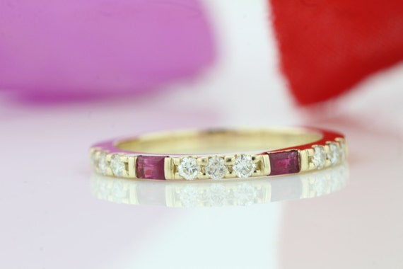 14k Yellow Gold Baguette Ruby And Diamond Stackable Ring Half