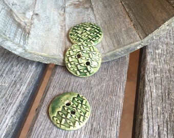Emerald Green Ceramic Buttons  Set of 3 handmade round stoneware buttons   Collectible Buttons   Ceramic Accents for knitware or craftst