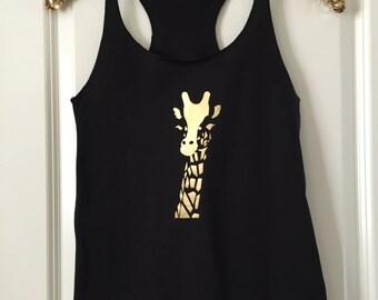 Giraffe Gold Foil Tank Top / Animal Lover / Gift for her / Birthday Gift / Wedding Gift / 6001