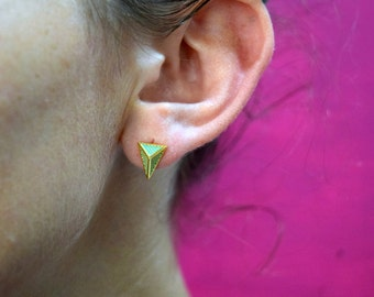"""The """"Sophia"""" Gold + Turquoise Pyramid Studded Post Earrings"""