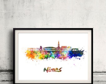 Nimes skyline in watercolor over white background with name of city - Poster Wall art Illustration Print - SKU 1884