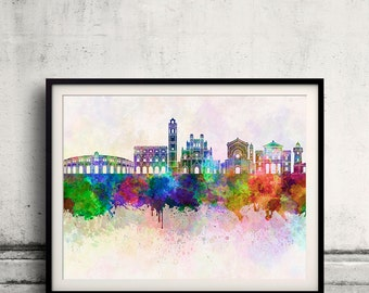 Castellon skyline in watercolor background - Poster Digital Wall art Illustration Print Art Decorative - SKU 1902