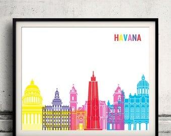 Havana pop art skyline 8x10 in. to 12x16 in. Fine Art Print Glicee Poster Gift Illustration Pop Art Colorful Landmarks - SKU 0545