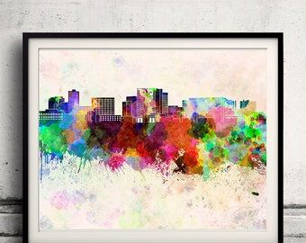 Cambridge MA skyline in watercolor background 8x10 in. to 12x16 in. Poster Digital Wall art Illustration Print Art Decorative - SKU 1309