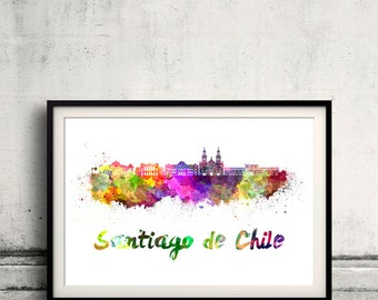 Santiago de Chile skyline in watercolor over white background with name of city - Poster Wall art Illustration Print - SKU 1619
