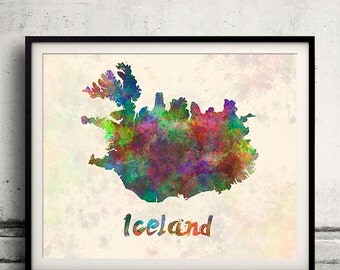 Iceland - Map in watercolor - Fine Art Print Glicee Poster Decor Home Gift Illustration Wall Art Countries Colorful - SKU 1696