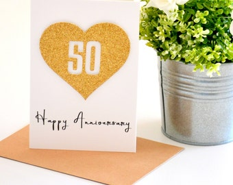 50th Anniversary Gift, 50 Year Anniversary Card, Golden Wedding Anniversary, Parents Anniversary, Wife Gift, Gift for Husband Love Card Gold