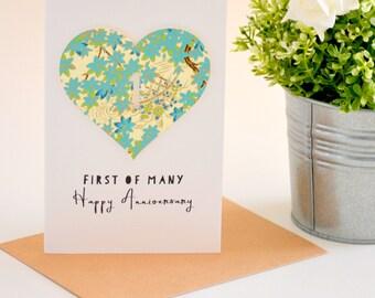1st Anniversary Card, First Anniversary Card, First of Many Happy Anniversary, One Year Anniversary Card, Paper Anniversary Gift Sakura Aqua