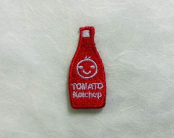 Tomato Ketchup Red Bottle Iron on Patch(S) - Tomato Ketchup Red Bottle Smiley Face Cute Applique Embroidered Iron on Patch