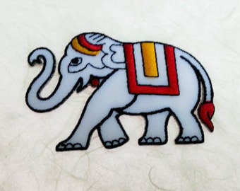 White Elephant  Iron on Patch - Thai Elephant Applique Embroidered Iron on Patch - Size 8.0x5.1 cm