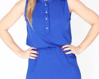 Cobalt Blue casual Summer day Dress mini sleeveless Button  Dress