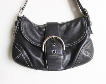 COACH Pristine Vintage Black 'SOHO' Over the Shoulder Purse with Silver Accents and Front Magnetic Flap