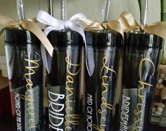 Bridesmaid Tumbler with Small Title, Wedding Party Tumbler, Custom Personalized Black Smoke 16 oz Acrylic Tumbler with Straw and Bow Add-on