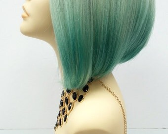 Short Lace Front Wig with Light and Dark Mint Green Ombre Colors. Fashion Wig with Premium Heat Resistant Fiber. [39-222-Sofi-T1B/Mint]