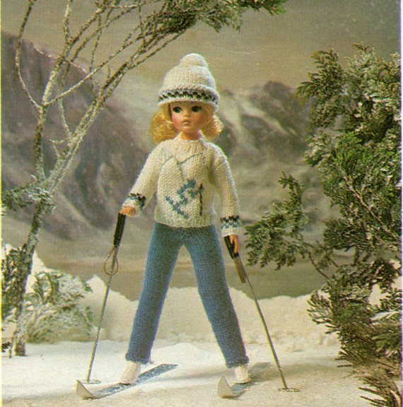 Simple Knitting Patterns For Scarves : Sindy Dolls Clothes Knitting Pattern Ski Outfit Sweater