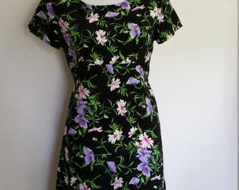 Wildflowers dress, S, floral mini dress, black floral dress, purple dress, empire waist dress, mini dress