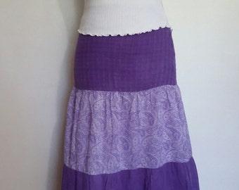 Purple skirt, XS, S, boho skirt, festival skirt, purple maxi skirt, tiered maxi skirt, quilted skirt