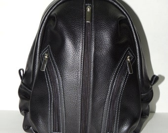"""Black leather women backpack """"Silver"""""""