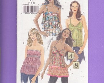 Loose, Empire Waist, Ruffled, Spaghetti Strap top/ Vogue 8250 Teen's Women's Layered, Ruffled, halter top UnCut Sewing Pattern/ Size 4 6 8