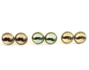 Mustache Stud Earring SET, Handmade Earring Studs, 10mm Glass Earrings, Mustache Earring Set, Mustache Earrings, Mustache Studs, Mustaches