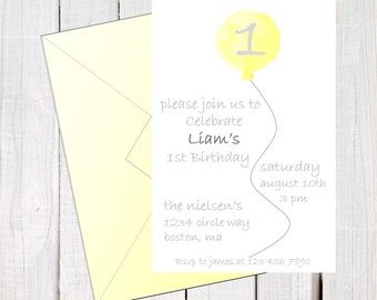 Baby's first birthday invitation, Simple first Birthday invite, Balloon invitation, Yellow and grey invitations. Printable Invitation