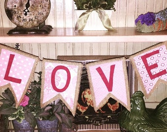 Valentine Decor/LOVE Bunting/Heart Decor/Heart Bunting/Mantel Decor