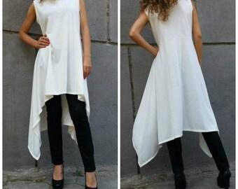Asymmetrical Tunic Top / Sleeveless Dress / Cotton Maxi Dress / Loose Cotton Blouse / Oversize Summer Dress / EXPRESS SHIPPING