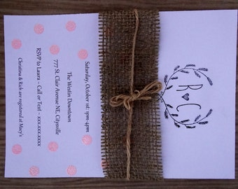 Rustic Burlap Shower Invitation