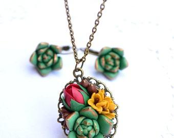 Succulent jewelry set. Succulent rose necklace earrings. Planter necklace earrings jewelry set. Rustic earrings necklace jewelry