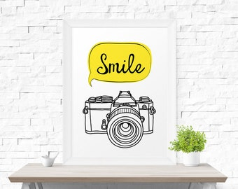 Printable Wall Art Smile photo camera Modern Graphic Poster Digital Print Instant Download Typography Poster