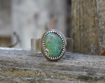 Green Turquoise Ring Silver Turquoise Ring Southwestern Jewelry Turquoise