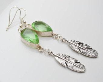 Topaz green earrings - silver feathers