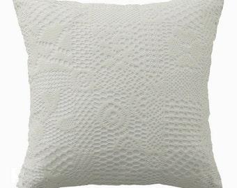 "White Crochet Sheer Square Accent Throw Pillow Cushion 18"" X 18"""