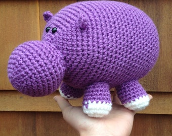 Handmade crochet hippo- stuffed animal hippopotamus- knit plush hippo- handmade chubby hippo- stuffed toy hippo