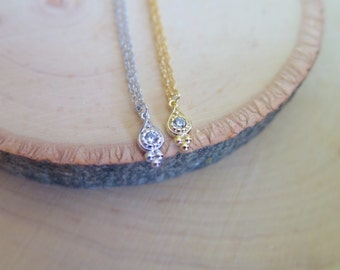 Delicate & Dainty Silver / yellow gold plated stacking necklace