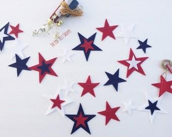 4th of July Banner, Patriotic Banner, Star Banner, Fourth of July Banner, Star Garland, 4th of July Decor, 4th of July, Felt garland, Banner