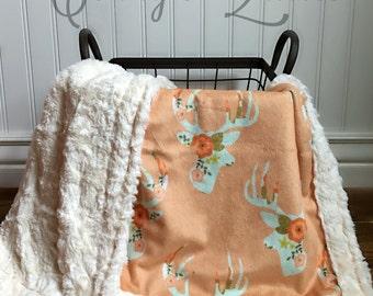 Deer Baby Blanket - Mint Floral Deer - Designer Minky - Ivory