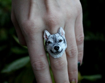 Huskies Ring, handmade dog, polymer clay jewelry, Huskies jewelry a copy of your pet, Universal Ring