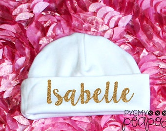Custom Name Glitter Newborn Baby Hat - Baby Girl Personalized Beanie Hat - White w/ Gold Glitter - Choose Glitter Color